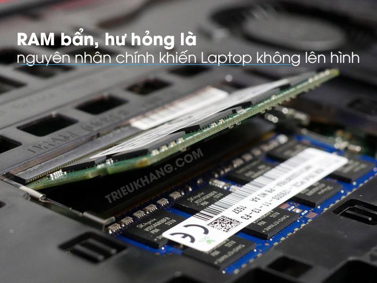 laptop không lên hình do RAM lỗi